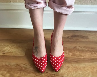 Red and White Polka Dot Pumps Size 8.5