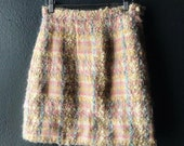 Pastel plaid mohair boucle mini skirt