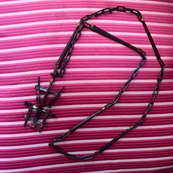 60's Brutalist iron necklace chain/ pendant