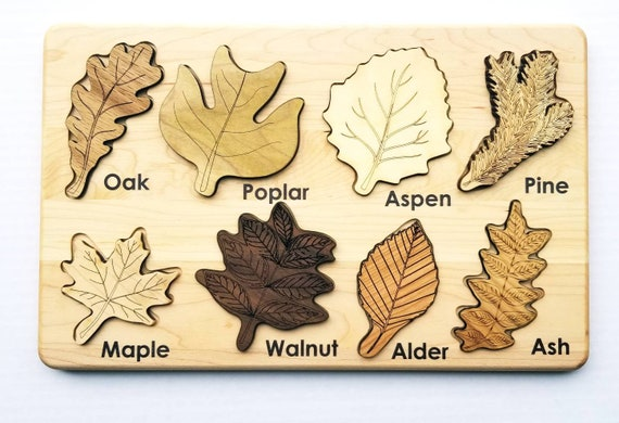 Leaf puzzle, Montessori puzzle, Christmas gift, wooden puzzle, stem toy