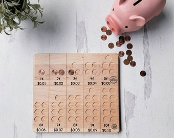 Penny counting board - coin cointing - penny, nickel and dime board - Montessori money
