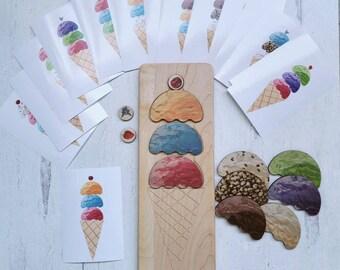Pattern recognition work - Ice cream scoop puzzle - Montessori sensorial