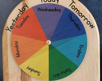 Classroom size Days of the week wheel - Yesterday Today Tomorrow wheel - Montessori calendar