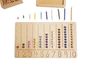 Number counting board - Number tracing board - Montessori counting board - Ten board