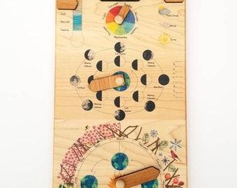 Wooden perpetual calendar, Perpetual calendar, wood calendar, Waldorf calendar, Montessori calendar, homeschooling calendar