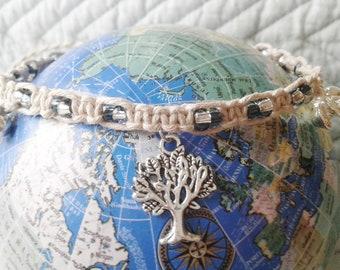 Fashion Jewelry Nice Peace Sign Charm Hemp Bell Anklet Natural Macrame Handmade Ankle Bracelet