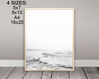Instant Download, Waves Print, Ocean Print, Modern Scandinavian, Wall Decor, Black and White, Waves, Minimalist, Scandinavian Art, Ocean Art