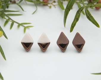 Bronze Diamond Earrings || Handmade Geometric Ceramic Stud Earrings
