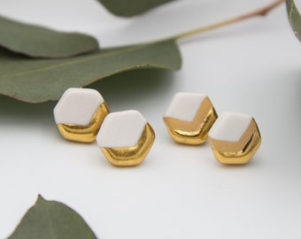 Gold Hexagon Chevron Earrings || Handmade Geometric Ceramic Stud Earrings || Free Shipping