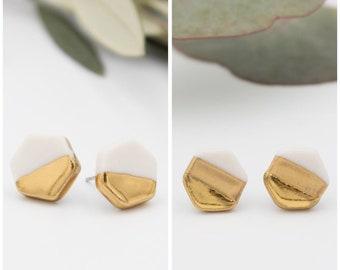 Gold + White Hexagon Earrings || Handmade Geometric Ceramic Stud Earrings