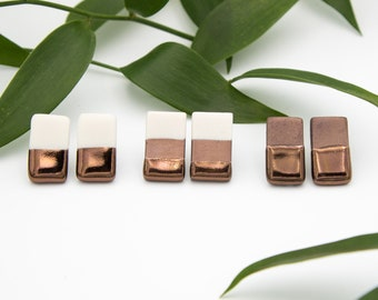 Bronze Rectange Earrings || Handmade Geometric Ceramic Stud Earrings