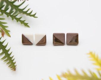 Bronze Square Earrings || Handmade Geometric Ceramic Stud Earrings