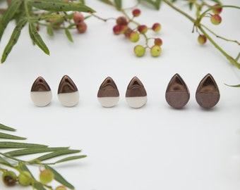Bronze Teardrop Earrings || Handmade Geometric Ceramic Stud Earrings