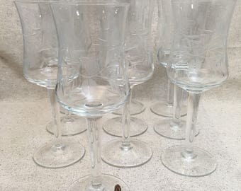 Etched Champagne Glasses - Set of 10