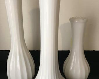 Hoosier/CLG CO Milk Glass Vases - set of 3
