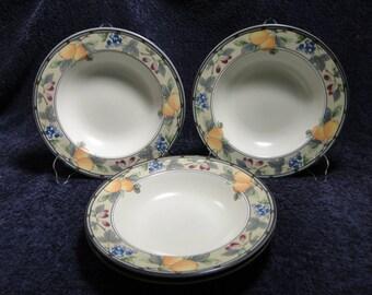 mikasa garden harvest soup bowls pasta 9 12 cac29 rimmed set of 4 excellent - Mikasa Garden Harvest