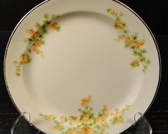 """Taylor Smith Taylor Acacia Orange Floral Bread Plate 6 1/4"""" EXCELLENT!"""