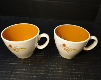 TWO Taylor Smith Taylor Ever Yours Autumn Harvest Tea Cups Set of 2 EXCELLENT!