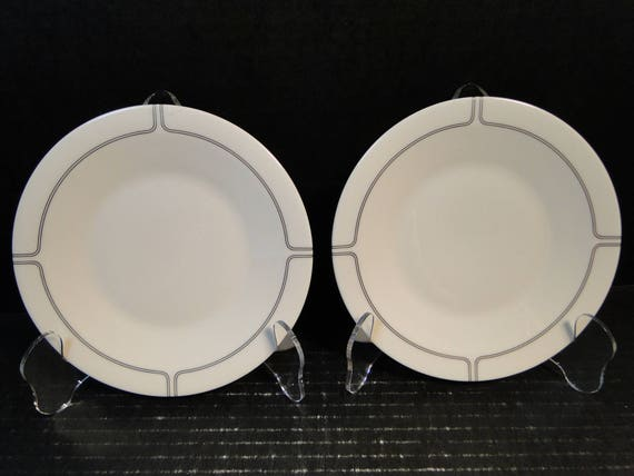 """TWO Franciscan Silver Lining Bread Plates 6 1/4"""" Set of 2 EXCELLENT!"""