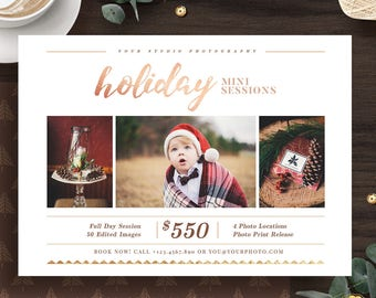 Holiday Mini Session Template, Christmas Mini Sessions Templates, Photography Mini Session Flyer Marketing Template for Photographer - MS028