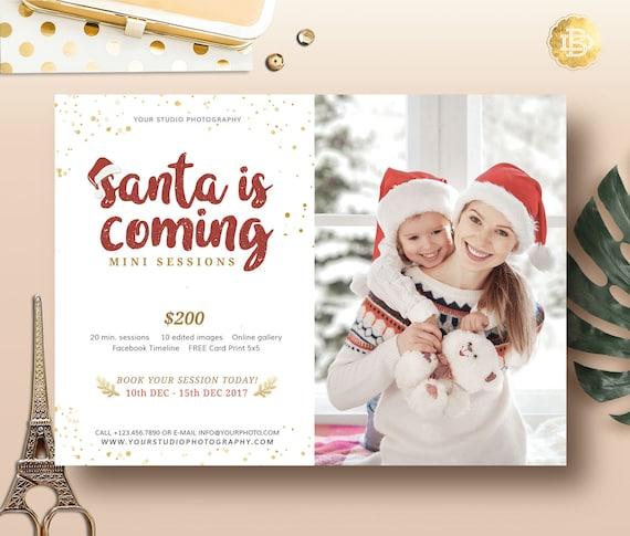 Christmas Mini Session Template For Photographer Santa Marketing Card Holiday Flyer