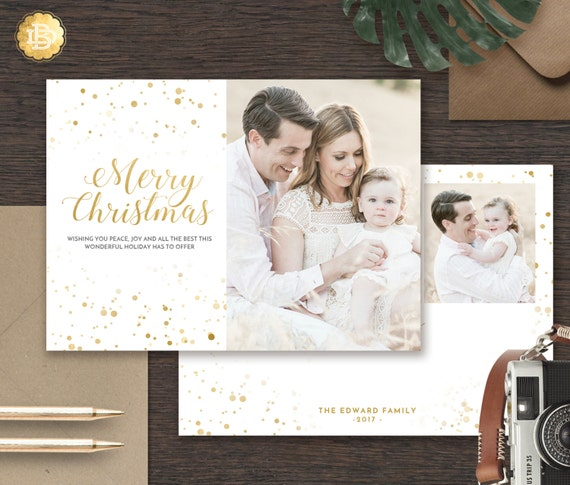 Holiday Card Template Christmas Greeting Card Photoshop Etsy