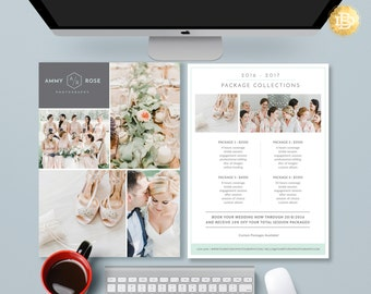 Pricing Guide Photoshop Template Design, Photography Price Sheet, Price List Template Design for Photographer - INSTANT DOWNLOAD - PG004