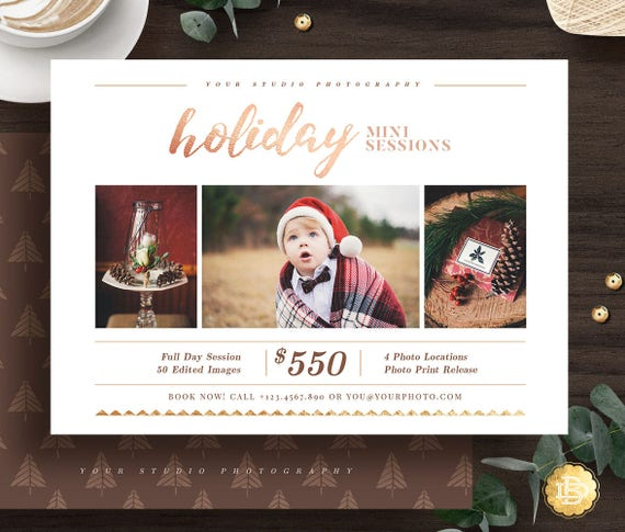 Holiday Mini Session Template, Christmas Mini Sessions Templates,  Photography Mini Session Flyer Marketing Template for Photographer , MS028