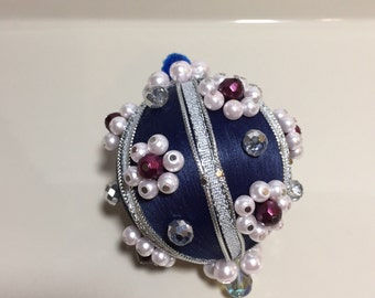 Decorated, handmade, vintage, silk, beaded, pearl, Christmas ornaments. Victorian, silk, beaded,pearl ornaments, traditional, tree, ornament