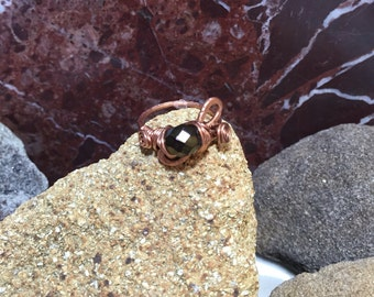 Handmade designer copper ring, hammered designer copper ring, black crystal ring, wire wrapped copper crystal ring,  black swavorski ring