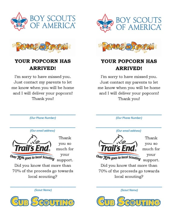 "Boy Scout Popcorn ""Your Popcorn Is In"" Card"