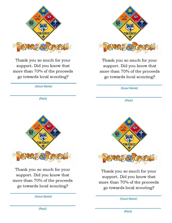 "Cub Scout Popcorn ""Thank You for Your Support"" Card - Scout and Pack Edition"