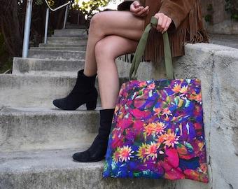 Art Tote Bag, Linen Tote, Floral Tote, Echo Park, Abstract Print, Ecofriendly Tote Bag, Shopping Bag, Lily Pad Tote, Psychedelic Bag