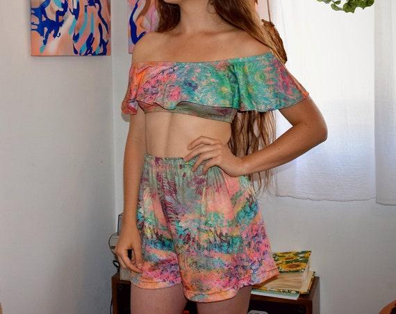 'Tropics' Bardot Top & Shorts Set