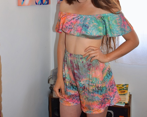 'Tropics' Bardot Top & Shorts Set