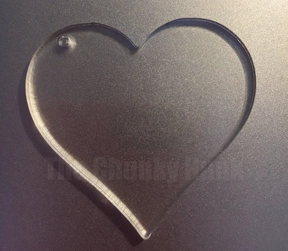 10 blancs de porte-clé en forme de coeur acrylique pour vinyle   Etsy 8ca56c27d01