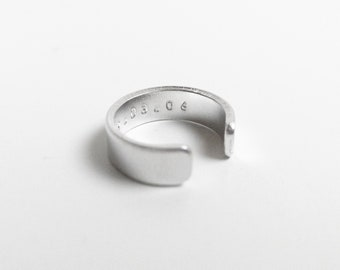 Tiny text chunky aluminium ring - custom hidden message ring band - Uppercase alphabet number symbol - Man Woman Unisex
