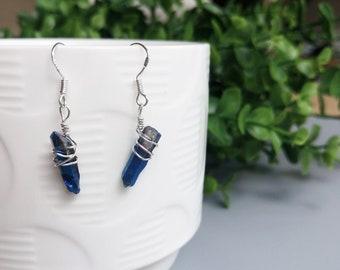 Midnight Blue Crystal Earrings - Sterling silver - Raw cut quartz gemstone