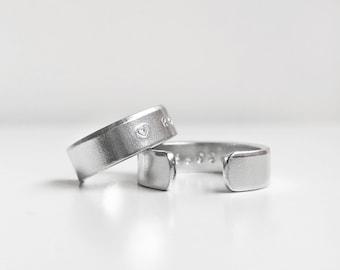 Set of 2 - Tiny text chunky aluminium ring - custom hidden message ring band - Man Woman Unisex - couple friendship matching rings