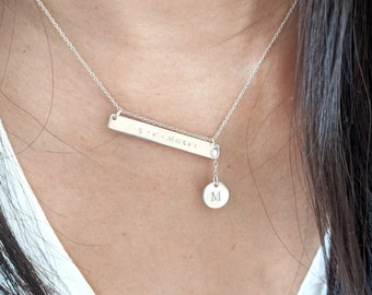 Custom Message and Initial Necklace - Sterling silver
