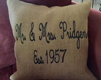 Mr. & Mrs. Burlap pillow case