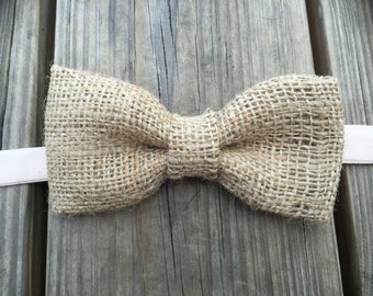 Mens Burlap bow tie