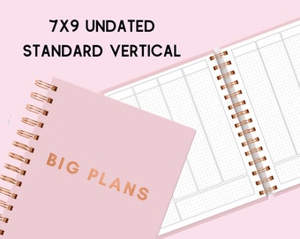 Big Plans Planner (7x9 Undated Standard Vertical Rose Gold Wire-O Coil Laminate Cover Bullet Journal Grid)