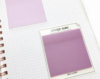 Neutral Transparent Sticky Notes (Vellum) - Self Love