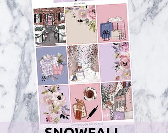 Snowfall // Silver Foil Full Weekly Sticker Kit // for Standard Vertical Planner Stickers