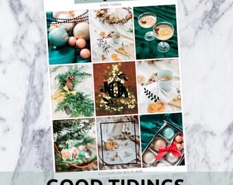 Good Tidings // Gold Glitter Foil Full Weekly Sticker Kit // for Standard Vertical Planner Stickers