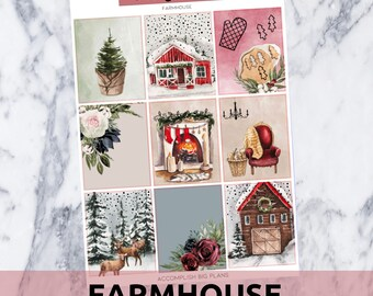 Farmhouse // Gold Foil Full Weekly Sticker Kit // for Standard Vertical Planner Stickers