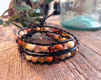 Leather Double Wrap Bracelet with Autumn Inspired Beads