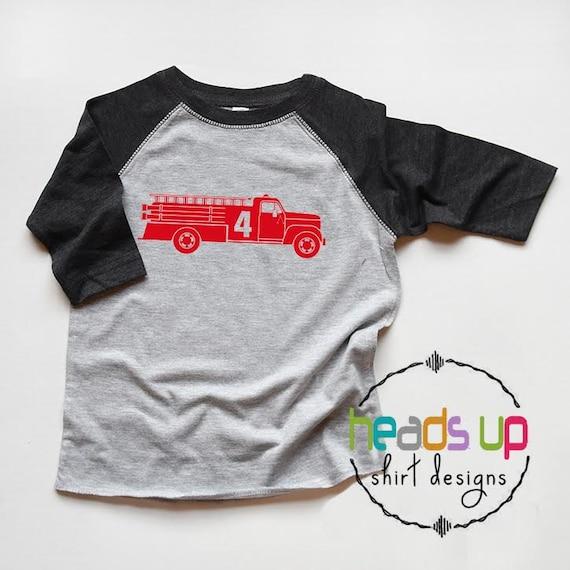 Fire Truck 4 Shirt Toddler Boy Girl Fourth Birthday