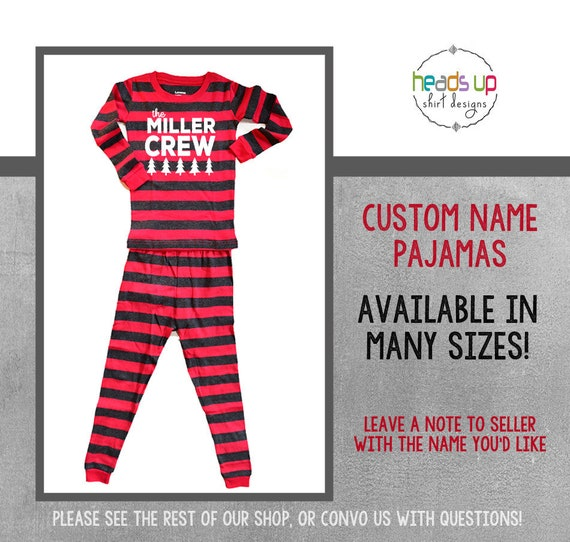 Christmas Pajamas Custom Family Name Cousins Boy or Girl  1781fa743